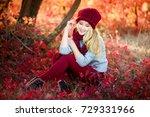 attractive blonde in hat with... | Shutterstock . vector #729331966