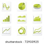 set of 9 graph icon variations   Shutterstock .eps vector #72933925