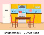 kitchen interior | Shutterstock .eps vector #729357355