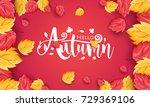 autumn calligraphy. seasonal...   Shutterstock .eps vector #729369106