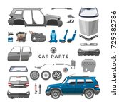 car service parts flat auto... | Shutterstock .eps vector #729382786
