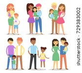 happy different family couples... | Shutterstock .eps vector #729383002
