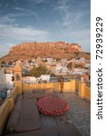 The Mehrangarh fort and residential houses in the Blue City of Jodhpur, Rajasthan, India. - stock photo