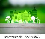 ecology concept  green car with ... | Shutterstock . vector #729395572