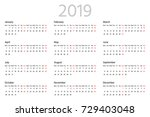 simple calendar for 2019 year.... | Shutterstock .eps vector #729403048