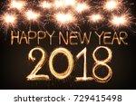 happy new year 2018 written... | Shutterstock . vector #729415498