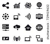 16 vector icon set   share ... | Shutterstock .eps vector #729419632
