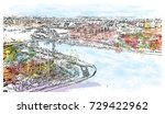 watercolor sketch of aerial... | Shutterstock .eps vector #729422962