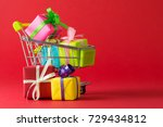 shopping cart filled with... | Shutterstock . vector #729434812