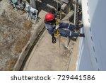 top view male worker rope... | Shutterstock . vector #729441586