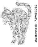 bengal cat. hand drawn cat.... | Shutterstock .eps vector #729453052