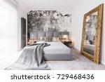long blanket lying on a double... | Shutterstock . vector #729468436