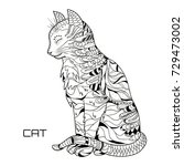 cat. zentangle. hand drawn cat... | Shutterstock . vector #729473002