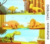 dinosaurs in prehistoric...   Shutterstock . vector #729478042