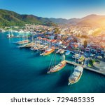 aerial view of boats and... | Shutterstock . vector #729485335