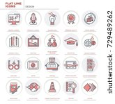 set of vector flat icons.... | Shutterstock .eps vector #729489262