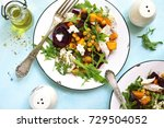 autumn vegetable salad with... | Shutterstock . vector #729504052