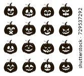 vector set of 16 black funny... | Shutterstock .eps vector #729537292