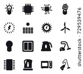16 vector icon set   bulb  chip ... | Shutterstock .eps vector #729539476
