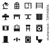 16 vector icon set   table lamp ... | Shutterstock .eps vector #729540856
