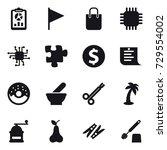 16 vector icon set   report ... | Shutterstock .eps vector #729554002