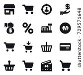 16 vector icon set   shop  cart ... | Shutterstock .eps vector #729571648