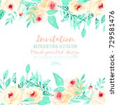 template card with watercolor... | Shutterstock . vector #729581476