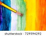 paintbrush on rainbow...   Shutterstock . vector #729594292
