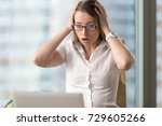 surprised businesswoman looking ... | Shutterstock . vector #729605266