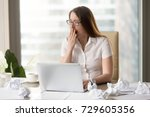 tired overworked sleepy... | Shutterstock . vector #729605356