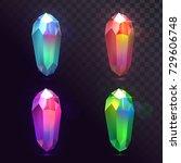 vector set of crystals  magic... | Shutterstock .eps vector #729606748