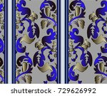 pattern with baroque scrolls... | Shutterstock .eps vector #729626992