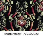 pattern with baroque big damask ... | Shutterstock .eps vector #729627022