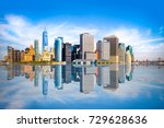 new york city skyline with view ... | Shutterstock . vector #729628636