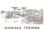 sketch of gardens by the bay... | Shutterstock .eps vector #729630466