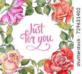 wildflower rose flower frame in ... | Shutterstock . vector #729631402
