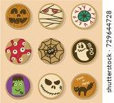 Halloween Cookies Vector. Set...