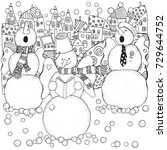 cheerful snowmen sing songs .... | Shutterstock .eps vector #729644752
