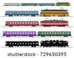 passenger express train set ... | Shutterstock .eps vector #729650395