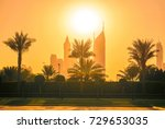 the city skyline in the... | Shutterstock . vector #729653035