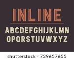 vector retro inline bold font... | Shutterstock .eps vector #729657655