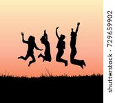 jumping joyful silhouettes of... | Shutterstock .eps vector #729659902