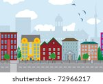 city houses. vector illustration | Shutterstock .eps vector #72966217
