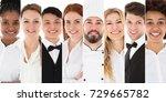 set of young restaurant staffs...   Shutterstock . vector #729665782