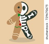 gingerbread skeleton vector... | Shutterstock .eps vector #729670675