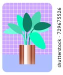 potted plant  abstract print.... | Shutterstock .eps vector #729675526