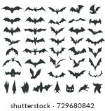 various silhouettes of bats on... | Shutterstock .eps vector #729680842