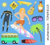 surfing active water sport... | Shutterstock .eps vector #729693115