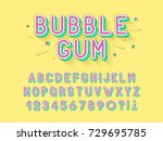vector retro bubble gum bold... | Shutterstock .eps vector #729695785