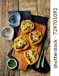 minced meat stuffed yellow bell ... | Shutterstock . vector #729701092